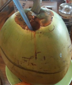 Drinking coconut water in the Philippines